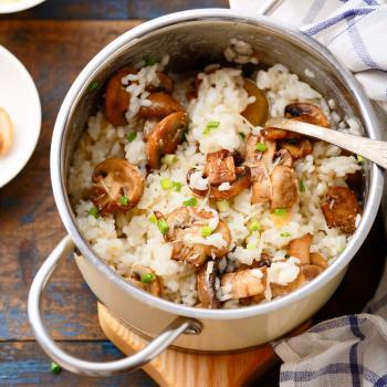 Reis mit Pilzen