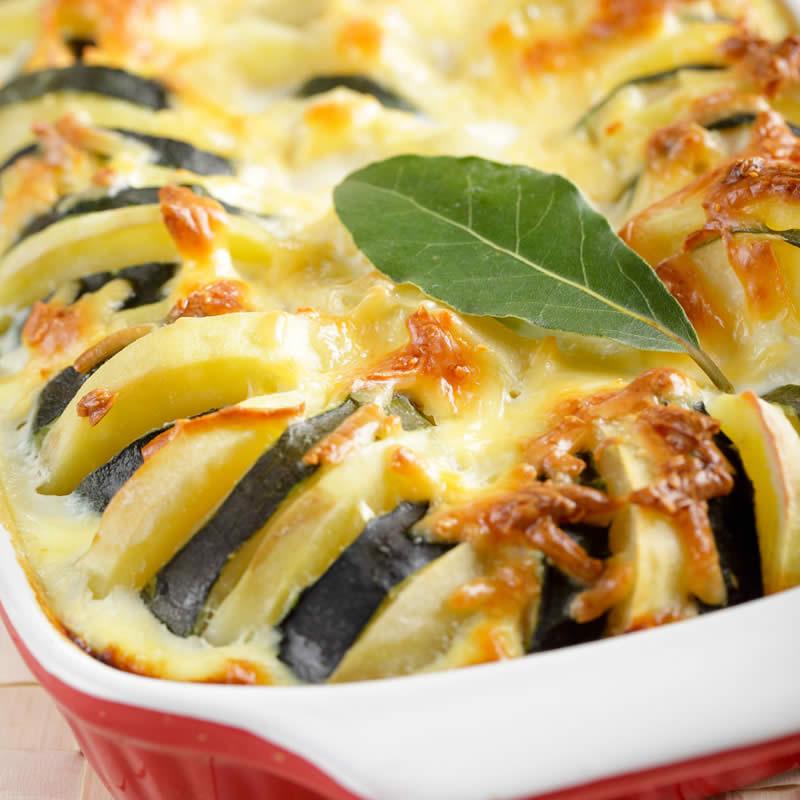 kartoffel zucchini gratin einfach schnell gesund vegan. Black Bedroom Furniture Sets. Home Design Ideas